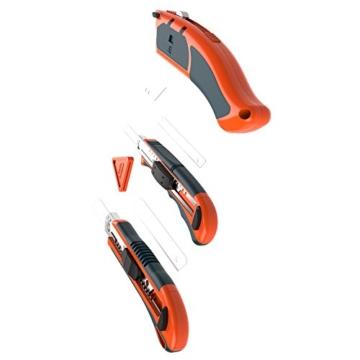 PRESCH Cuttermesser Set 7-tlg. mit 10 Abbrechklingen – Profi Universal-Messer für Karton, Teppich oder zum Basteln - 2