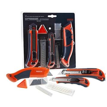 PRESCH Cuttermesser Set 7-tlg. mit 10 Abbrechklingen – Profi Universal-Messer für Karton, Teppich oder zum Basteln - 3
