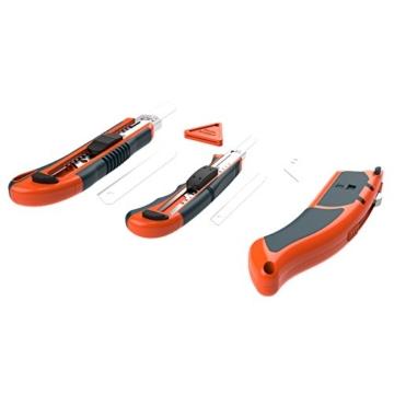 PRESCH Cuttermesser Set 7-tlg. mit 10 Abbrechklingen – Profi Universal-Messer für Karton, Teppich oder zum Basteln - 1